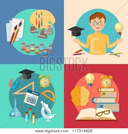 Education And Training Schoolboy Learning Back To School Vector Icons