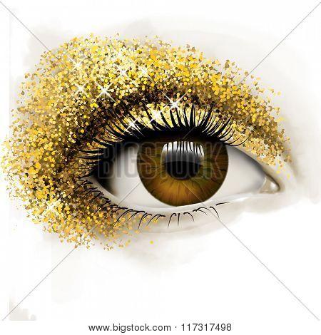 Eye with golden glitter, illustration