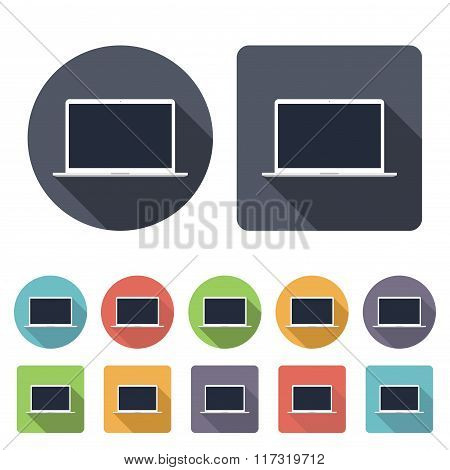 Laptop Icons Set In The Style Flat Design On The White Background. Stock Vector Illustration Eps10