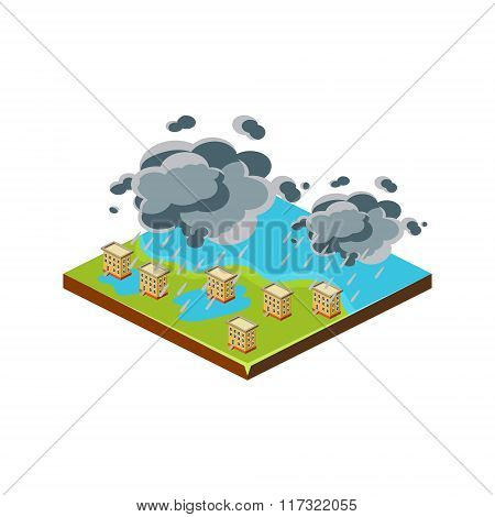 Flood in City. Natural Disaster Icon. Vector Illustration