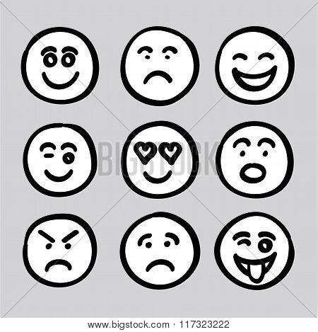 Hand Drawn Human Face Expressions Icons Collection Set Vector Graphic