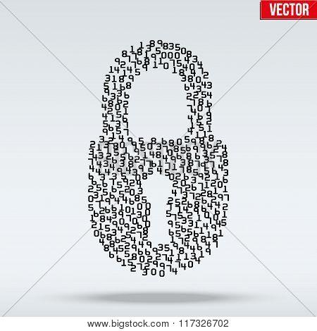 Simple icon of digital lock