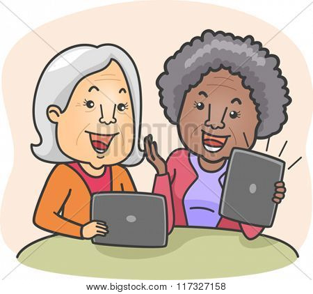 Illustration of Elderly Women Discussing What They are Watching on Their Tablets