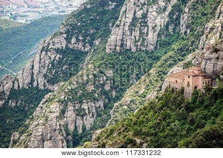 Holy Cave of Montserrat near Santa Maria de Montserrat Abbey in Montserrat mountains Spain