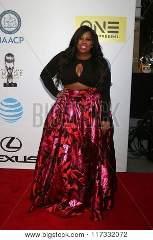 LOS ANGELES - FEB 5:  Amber RIley at the 47TH NAACP Image Awards Arrivals at the Pasadena Civic Auditorium on February 5, 2016 in Pasadena, CA