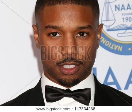 LOS ANGELES - FEB 5:  Michael B Jordan at the 47TH NAACP Image Awards Arrivals at the Pasadena Civic Auditorium on February 5, 2016 in Pasadena, CA