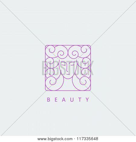 Female Face Logo Template