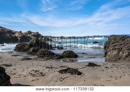 Sand beach along Fort Bragg coast, California