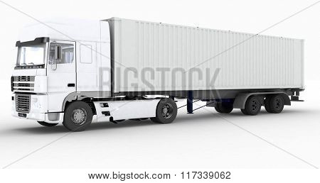 Truck with semi-trailer isolated on white background