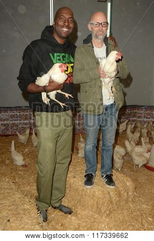 LOS ANGELES - JAN 30:  John Salley, Moby at the PETA Superbowl Party at the PETA's Bob Barker Building on January 30, 2016 in Los Angeles, CA