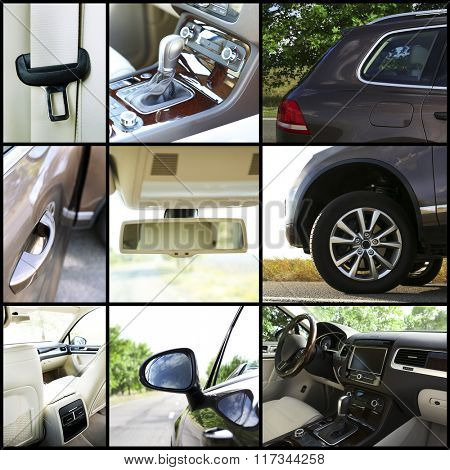 Modern car details in collage