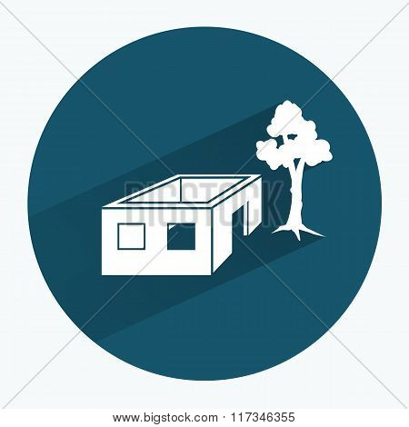 House icon. Unfinished building without roof. Ownerless incomplete, tree symbol. Round sign with lon