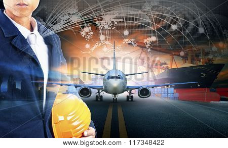 Ship Loading Container In Import - Export Pier And Air Cargo Plane Approach In Airport Use For Trans