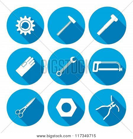 Tools icons set. Saw, pliers, tongs, wrench key, cogwheel, hammer, rubber gloves, screw bolt, nut, s