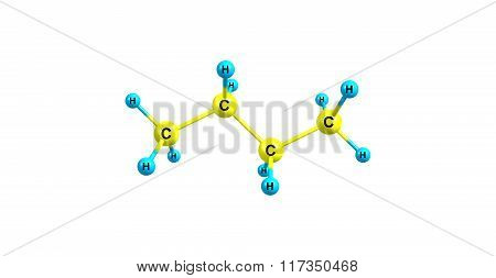 Butane is an organic compound with the formula C4H10 that is an alkane with four carbon atoms. Butane is a gas at room temperature and atmospheric pressure. 3d illustration
