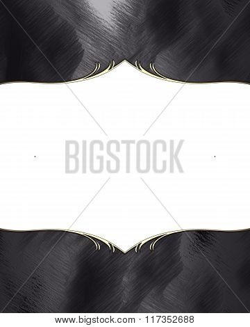 Black Abstract Frame With Gold Edges. Element For Design. Template For Design. Copy Space For Ad Bro