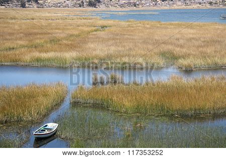 Boat in reeds of Titicaca lake, Copacabana, Bolivia