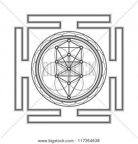 vector black outline tree of life yantra illustration sacred diagram isolated on white background poster
