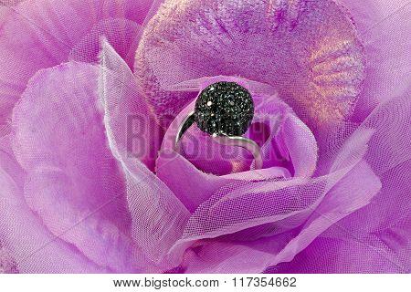 Silver ring with  zirconium stones