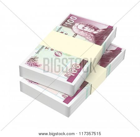 Scotland money isolated on white background. Computer generated 3D photo rendering