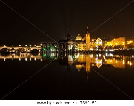 River Vltava in Prague by night
