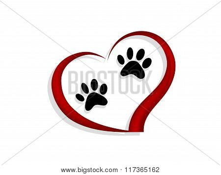 Paws In Red Heart