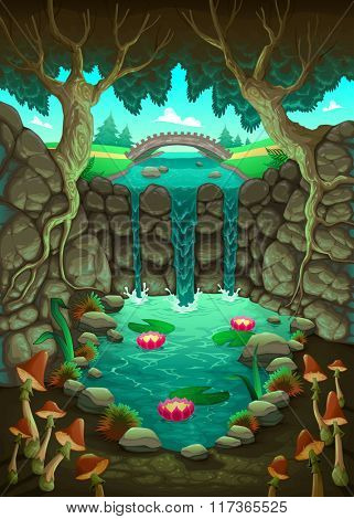Natural landscape with the pond. Vector cartoon illustration