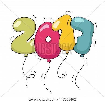 Cute Colorful Bubble Shaped Numbers For New Year Eve