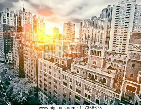 Traditional red brick apartments in Manhattan New York sunset