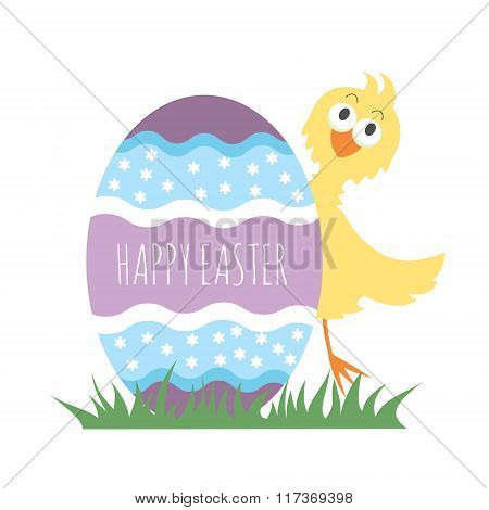 Easter chicken greeting card