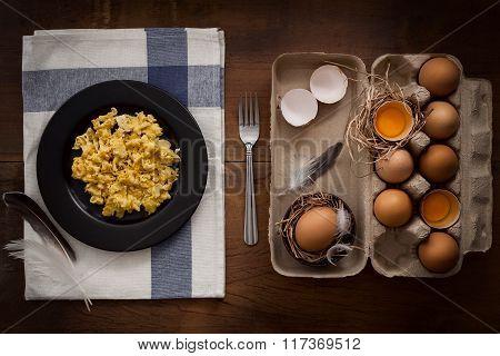 Eating Scrambled Eggs Flat Lay Still Life Rustic With Food Stylish