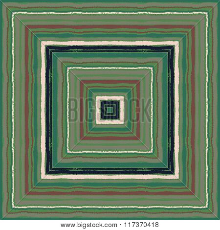 Striped rectangle pattern. Square lines with torn paper effect. Ethnic background. Green, brown, vin
