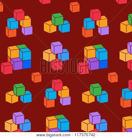 Seamless pattern with cubes. Perspective view colored geometric symbols on red-brown background. Vec