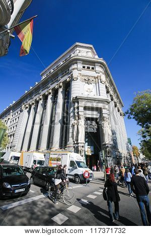 MADRID SPAIN - NOVEMBER 14 2015: Instituto Cervantes headquarters at the Calle de Alcala in the center of Madrid Spain. The Cervantes Institute is the largest organization in the world responsible for promoting the study and the teaching of Spanish langua