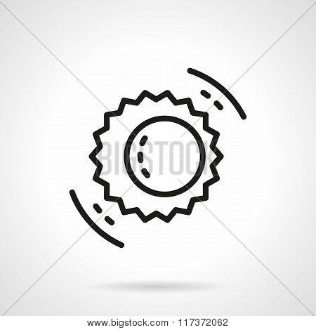 Black line solar eclipse symbol vector icon