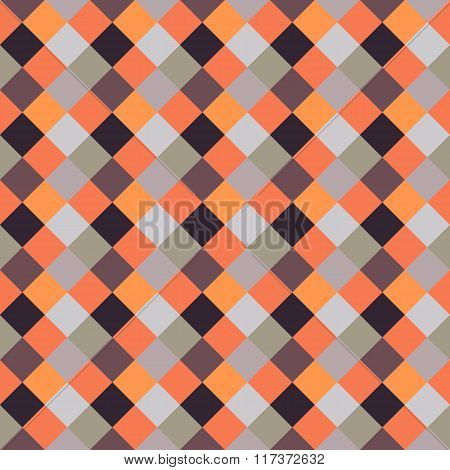 Seamless geometric checked pattern. Diagonal square, woven line background. Rhombus texture. Brown,