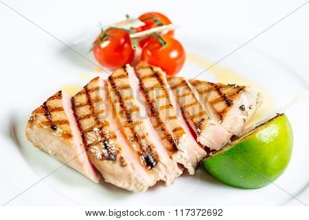 Beautiful Juicy The Tuna Steak With Grilled Vegetables