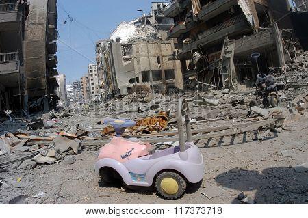 Beirut under Bombing in Lebanon