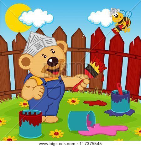 teddy bear and bee painter