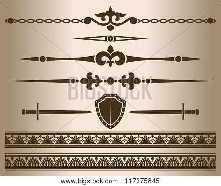 Design elements - shield and sword.
