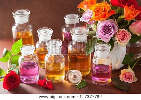 essential oil and rose flowers aromatherapy spa perfumery