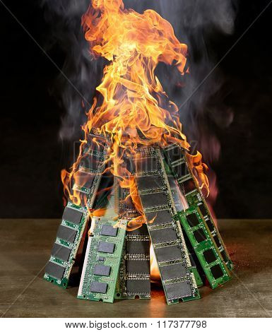 Burning Pile Of Ram