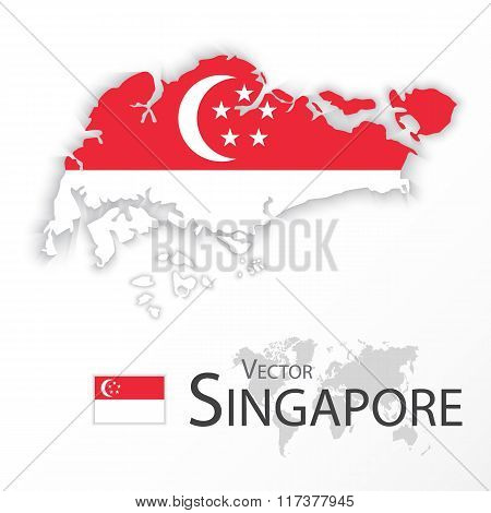 Singapore ( Republic Of Singapore ) ( Map And Flag )