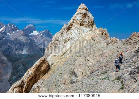 Razor sharp summit and climbers