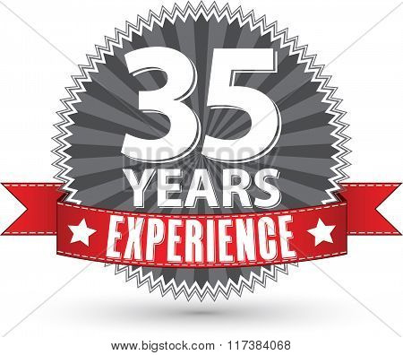 35 Years Experience Retro Label With Red Ribbon, Vector Illustration