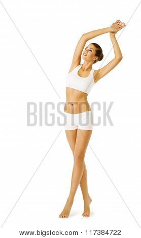 Woman Body Beauty Model Girl Fitness Exercise in White Underwear Sport Workout over white background