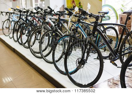 Sportive Mountain Bike Row In The Store