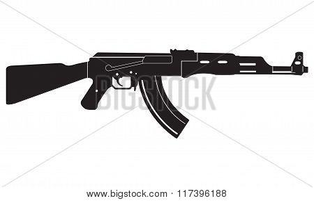 Gun icon. Machine Gun black silhouette. Vector illustration.