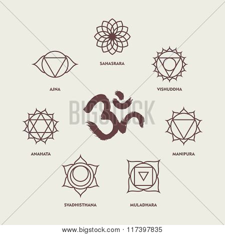 Chakra Symbols Line Style Set And Om Calligraphy