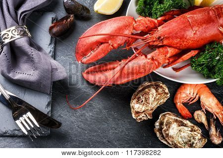 Fine Selection Of Crustacean For Dinner. Lobster, Oysters And Shrimps